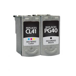Ensemble de 2 Cartouches réusinées Canon  PG-40 / CL-41  Noir et couleurs - Haut Rendement