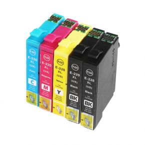 Ensemble de 5 Cartouches d'encre Compatible Epson 220XL Haut Rendement